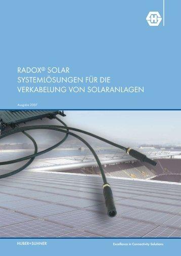 RADOX Solar-Systemlösungn für die Verkabelung von Solaranlagen