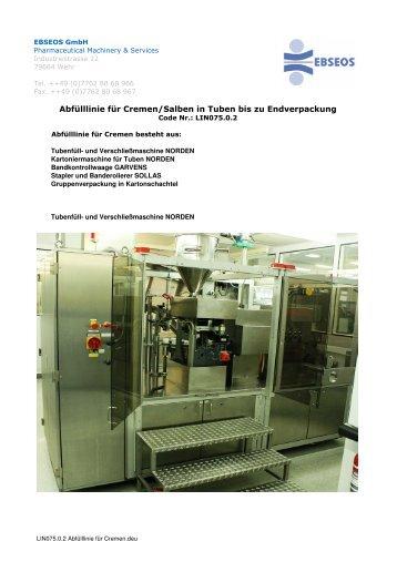 LIN075.0.2 Abfülllinie für Cremen in Tuben.deu - Ebseos GmbH