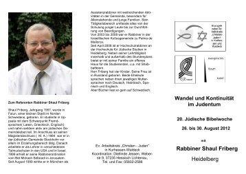 Rabbiner Shaul Friberg Heidelberg - Evangelische Kirche von ...