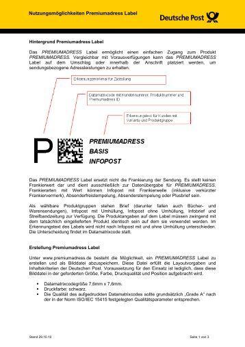 Nutzungsmöglichkeiten Premiumadress Label - BC Directgroup ...