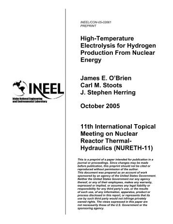 High-Temperature Electrolysis for Hydrogen Production From Nuclear