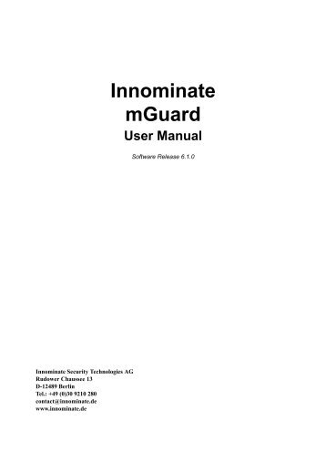 User Manual mGuard V6.1.0 - Innominate Security Technologies AG