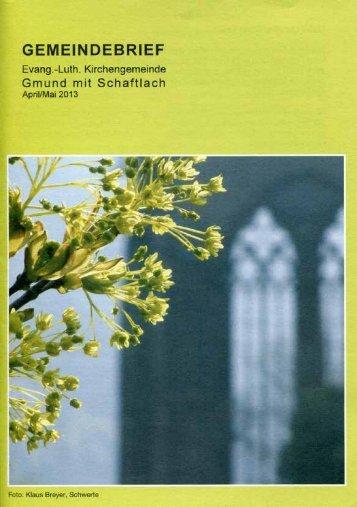 Gemeindebrief April/Mai 2013 - Evangelische Kirchengemeinde ...