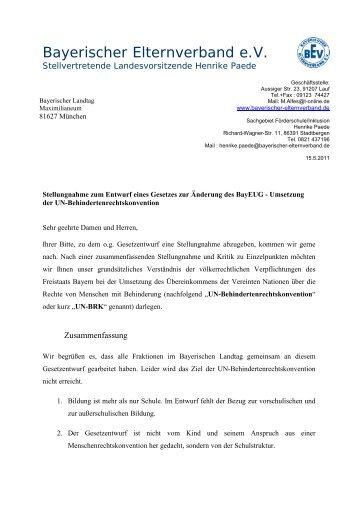 Stellungnahme Inklusion BEV - Initative inklusive Schule in Bayern ...
