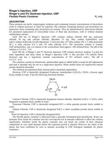 Ringer's Injection, USP Ringer's and 5% Dextrose ... - Hospira