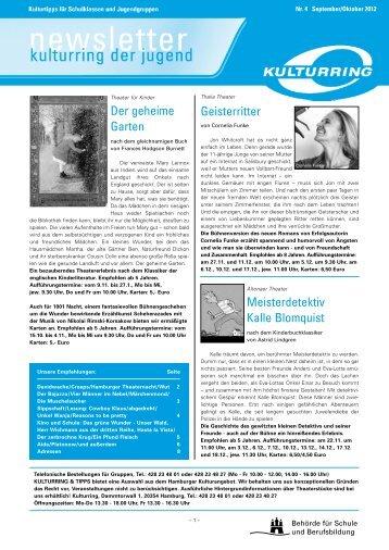 Newsletter Kulturring der Jugend - Nr.4 - September/Oktober 2012