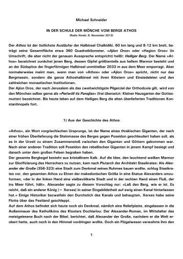 1 Michael Schneider IN DER SCHULE DER MÖNCHE ... - Kath.de