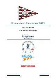 Programm Kanuslalom RO 2013 - Kajak-Klub Rosenheim eV