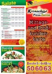 Mittags- und Groß- kunden- karte - beim Kronacher Pizza-Service