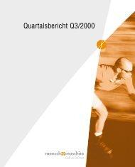 Quartalsbericht Q3/2000 - Mensch und Maschine