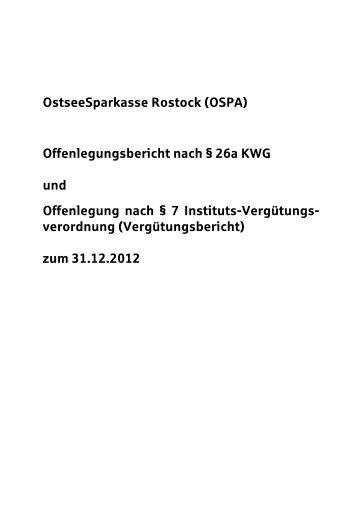 Offenlegungsbericht 2012 - OstseeSparkasse Rostock