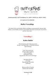 Buffet-Vorschläge Vorschlag 1 Kaltes Buffet - Partyservice Schmitt