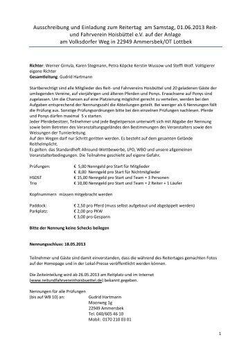 Ausschreibung und Einladung zum Reitertag am Samstag, 01.06 ...