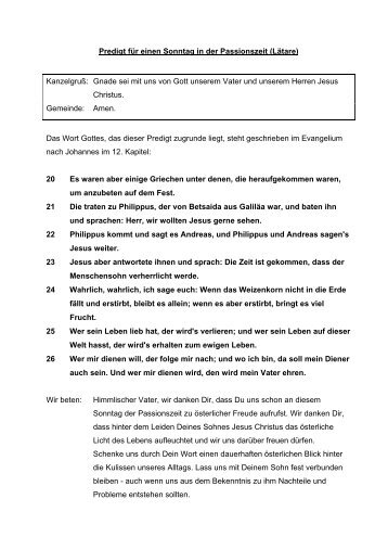 Johannes 12, 20-26 - SELK