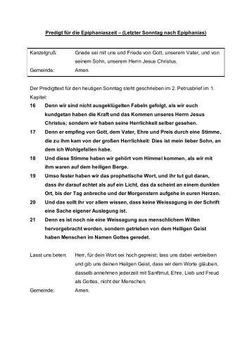 Epiphaniaszeit (Letzter) | 2. Petrus 1,16-21 - SELK