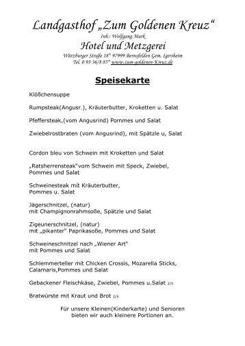 "Speisekarte - Landgasthof ""Zum Goldenen Kreuz"""