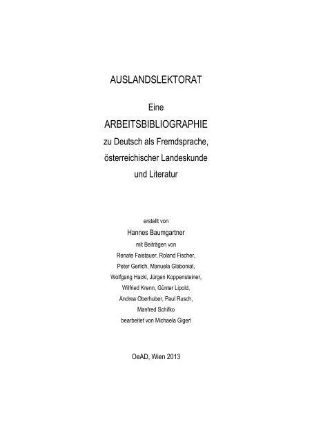Arbeitsbibliographie Osterreichischer Austauschdienst