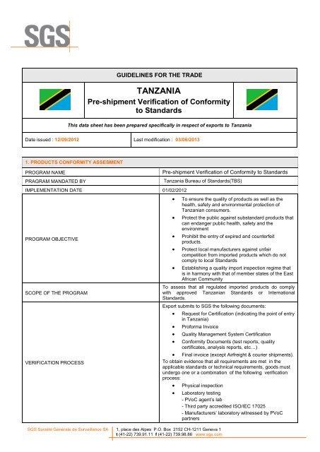 TANZANIA - SGS