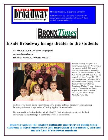 Inside Broadway brings theater to the students