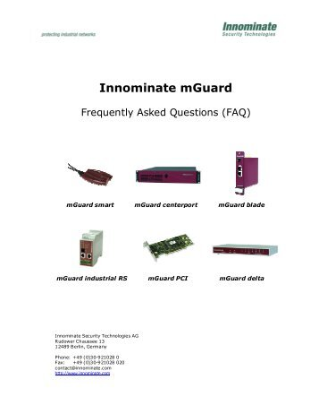 Innominate mGuard FAQs - Innominate Security Technologies AG