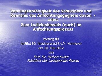 Zahlungsunfähigkeit des Schuldners und Kenntnis des - Institut für ...