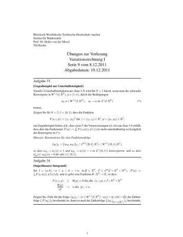 ¨Ubungen zur Vorlesung Variationsrechnung I Serie 9 vom 8.12 ...