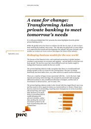 A case for ch Transformin private bank tomorrow's A case for ... - PwC