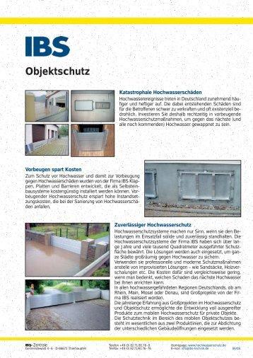 Produktdatenblatt Objektschutz - Hochwasserschutz