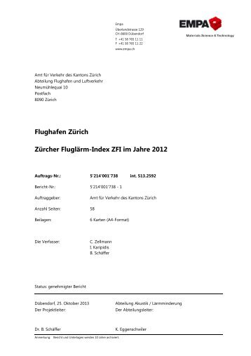 Zürcher Fluglärm-Index 2012 - EMPA Bericht (PDF, 64 Seiten, 5 MB)