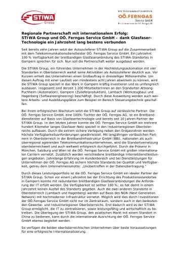 STIWA Group und OÖ. Ferngas Service GmbH – dank Glasfaser