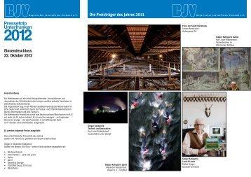 Informationsbroschüre zum Pressefoto Unterfranken 2012