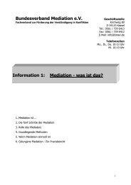 Bundesverband Mediation e.V. Information 1: Mediation - was ist das?