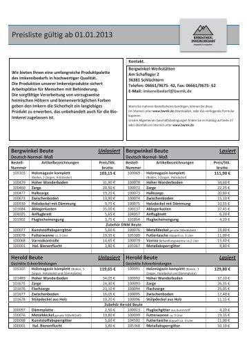 Preisliste gültig ab 01.01.2013 - Behinderten-Werk Main-Kinzig eV
