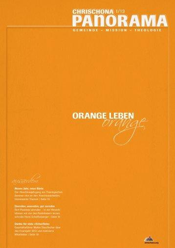 Panorama 1/2013: Orange leben - Die Pilgermission St. Chrischona