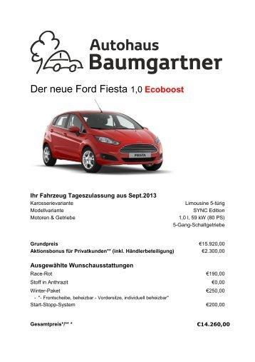 Der neue Ford Fiesta 1,0 Ecoboost - Autohaus Baumgartner