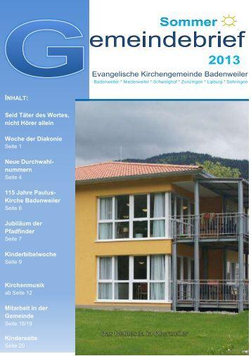 Gemeindebrief Sommer 2013 - Evangelischer Kirchenbezirk ...