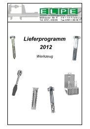 Lieferprogramm Werkzeug - ELPE GmbH