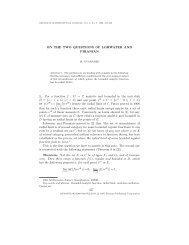 ON THE TWO QUESTIONS OF LOHWATER AND PIRANIAN 1. For a ...