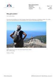 Elba geht wandern, Berner Zeitung Online, 24. März 2013 - Enit