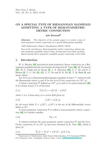 On a special type of Riemannian manifold admitting a type of semi ...