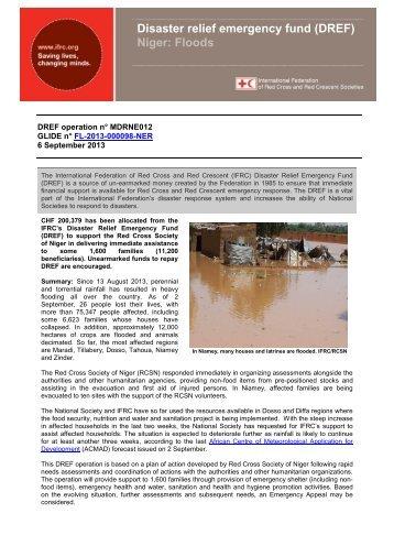 Disaster relief emergency fund (DREF) Niger: Floods - International ...