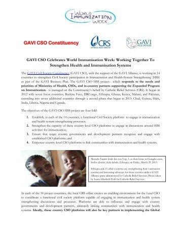 GAVI CSO Constituency: Celebrating the World Immunization Week