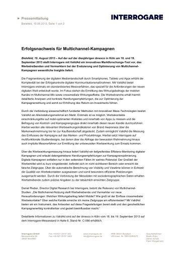 Erfolgsnachweis für Multichannel-Kampagnen - Interrogare GmbH