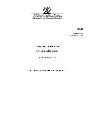 Gender Coordination Report 2013 - International Organization for ...