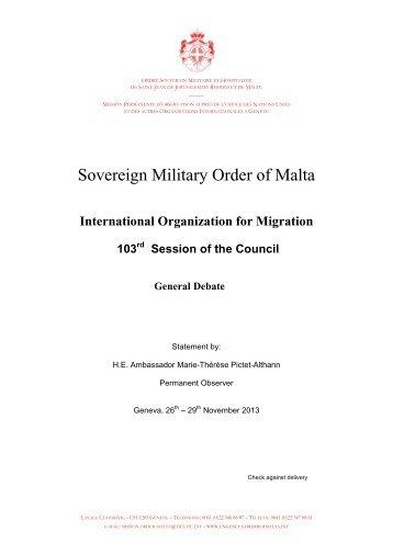 Order of Malta - International Organization for Migration