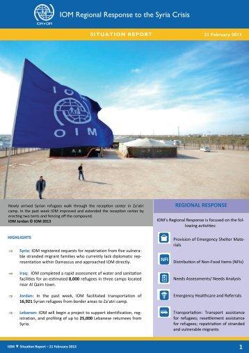 IOM Regional Response to the Syria Crisis 21 February 2013