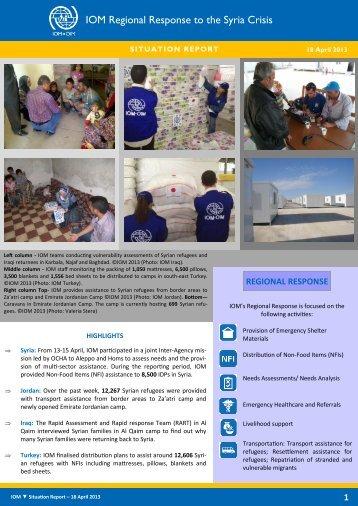 IOM Regional Response to the Syria Crisis, 18 April 2013
