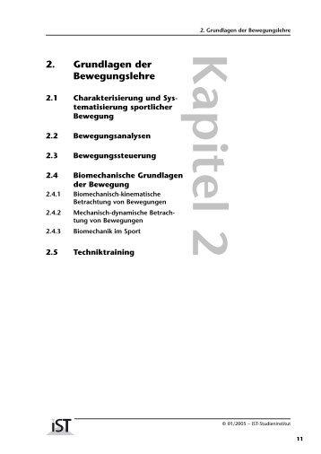 2. Grundlagen der Bewegungslehre - IST-Studieninstitut