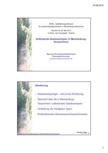 Auftretende Gewässertypen in Mecklenburg- Vorpommern ...