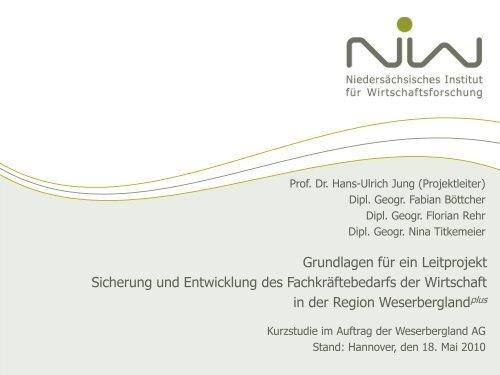 Berufsstruktur in der Region Weserberglandplus - NIW